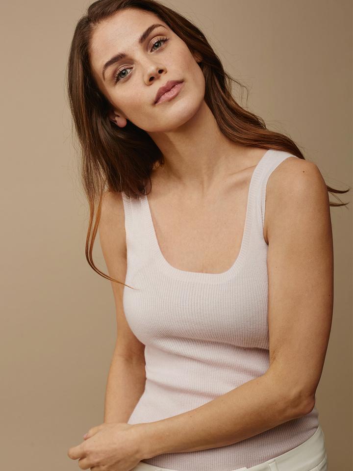 Soft Goat Women's Fine Knit Singlet Powder Pink