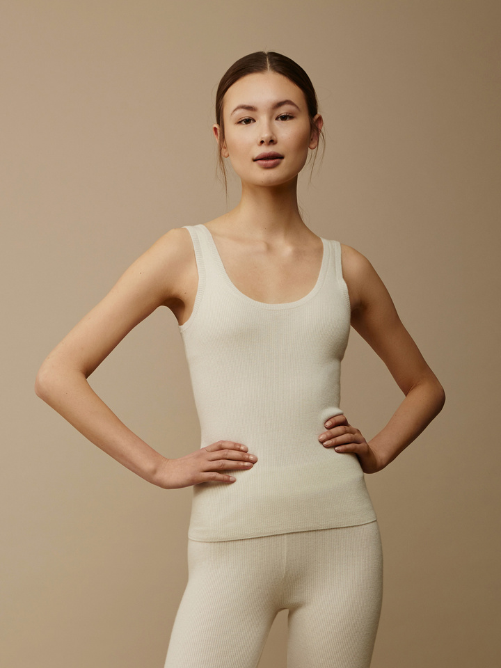 Soft Goat Women's Fine Knit Singlet Off White