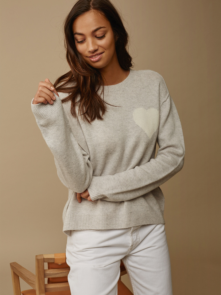 Soft Goat Women's Heart Sweater Marble Grey
