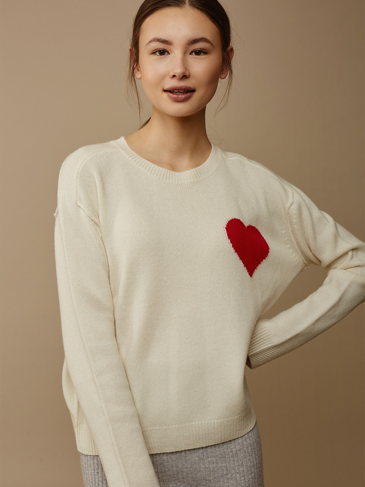 Soft Goat Women's Heart Sweater Off White