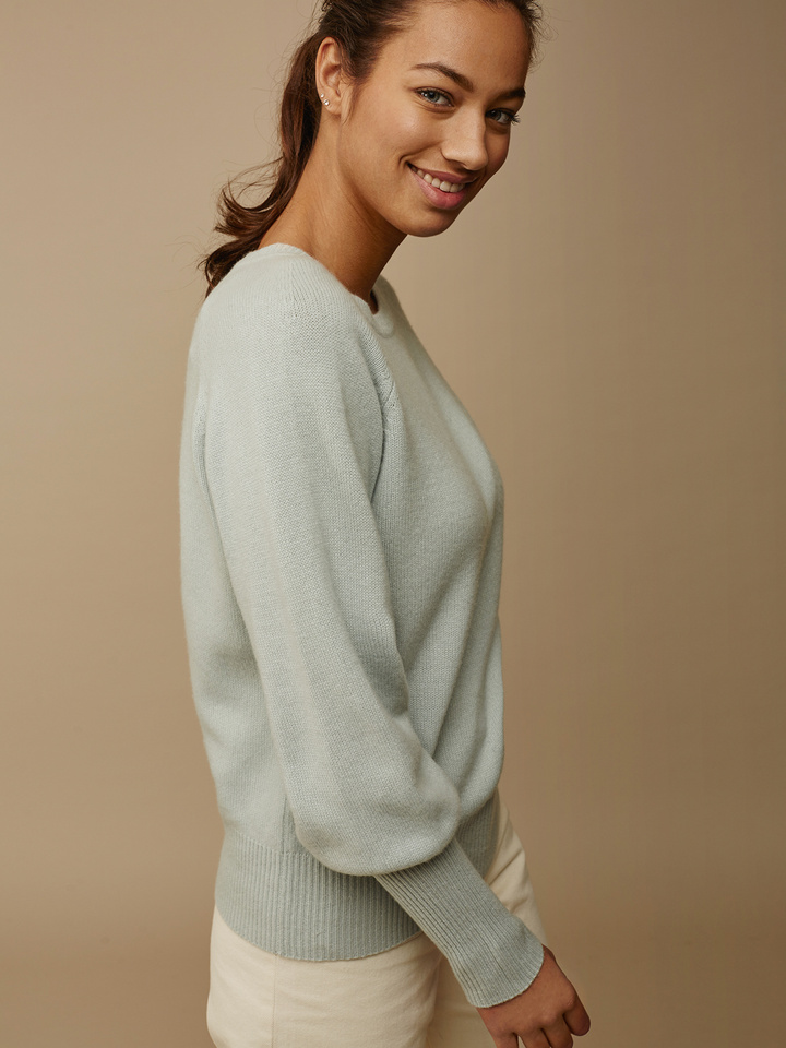 Soft Goat Women's High Rib Sleeve Sweater Seasalt