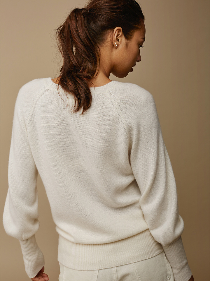 Soft Goat Women's High Rib Sleeve Sweater Off White