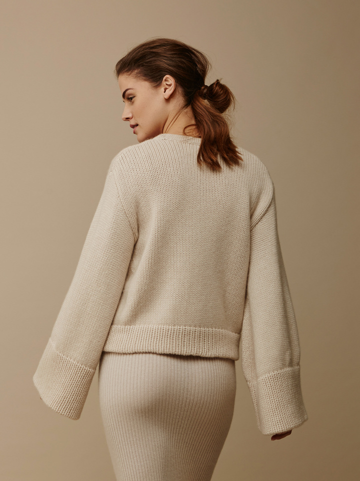 Soft Goat Women's Jumbo Sleeve Sweater Beige