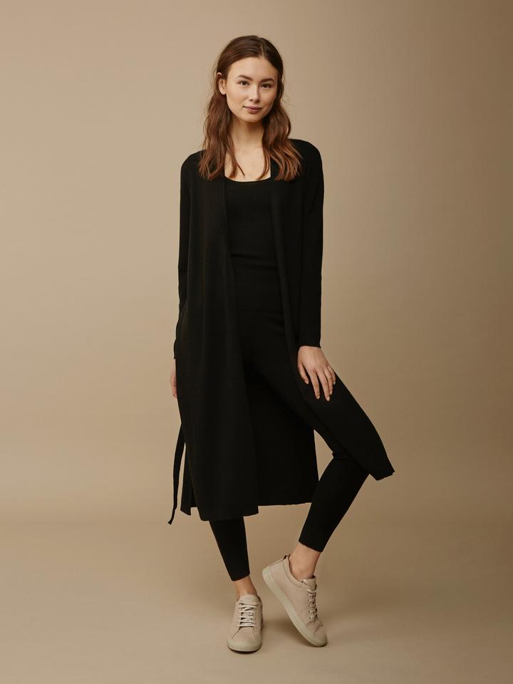 Soft Goat Women's Long Fine Knit Cardigan Black