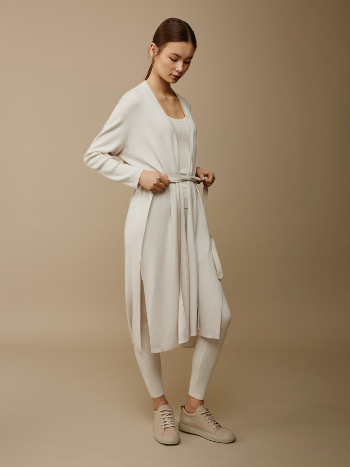 Soft Goat Women's Long Fine Knit Cardigan Off White