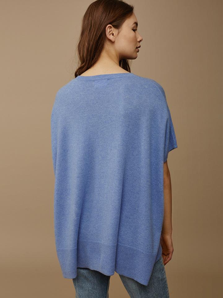 Soft Goat Women's O-Neck Poncho Aqua Blue