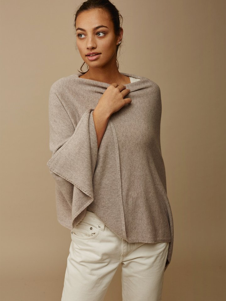 Soft Goat Women's Plain Poncho Light Taupe