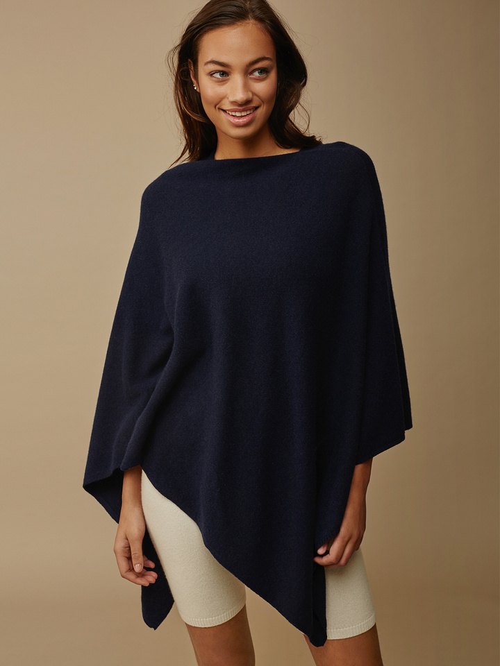 Soft Goat Women's Plain Poncho Navy