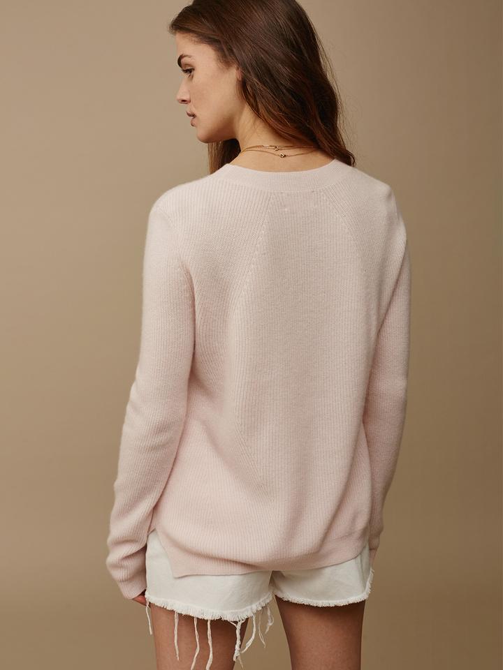 Soft Goat Women's Ribbed Sweater Powder Pink