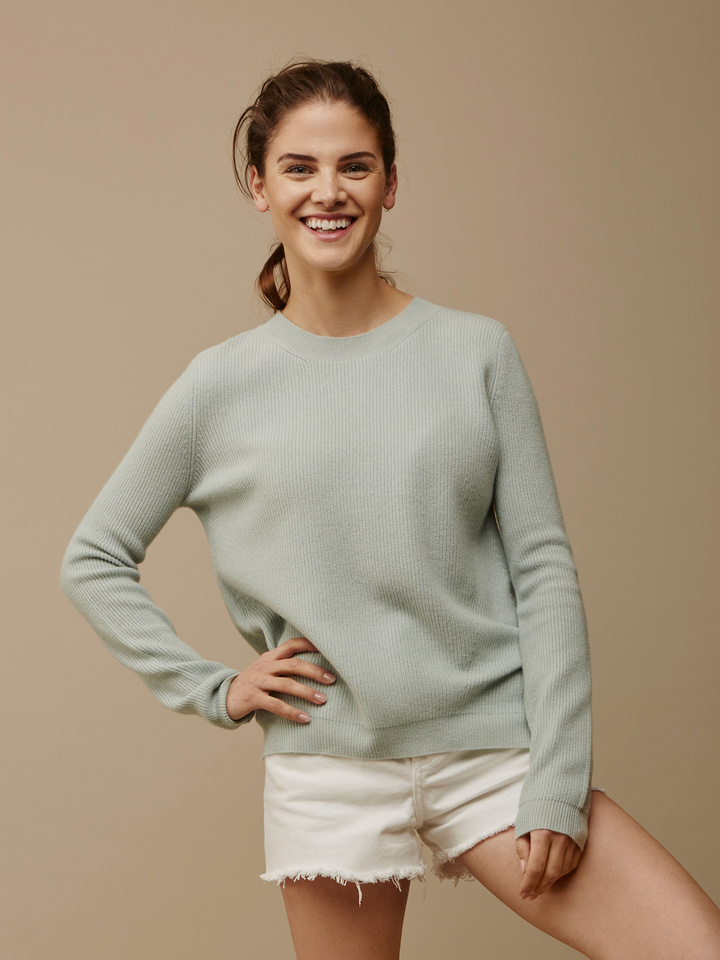 Soft Goat Women's Ribbed Sweater Seasalt