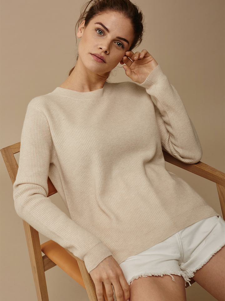 Soft Goat Women's Ribbed Sweater Beige