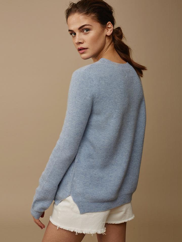 Soft Goat Women's Ribbed Sweater Light Blue