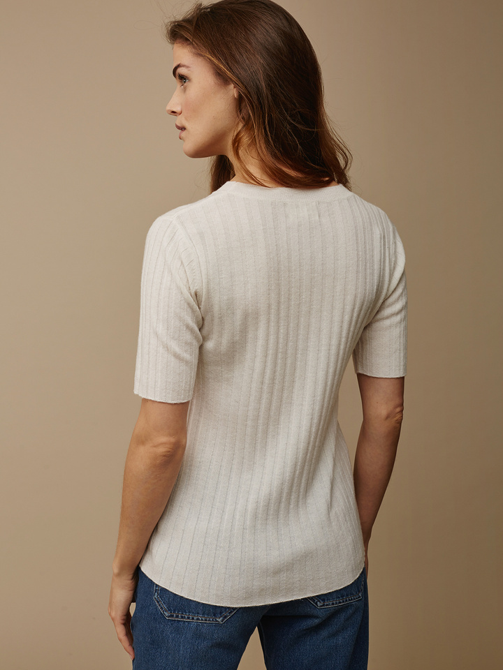Soft Goat Women's Ribbed T-Shirt Off White