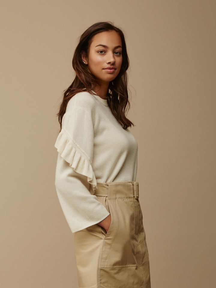 Soft Goat Women's Ruffle Trim Sweater Off White