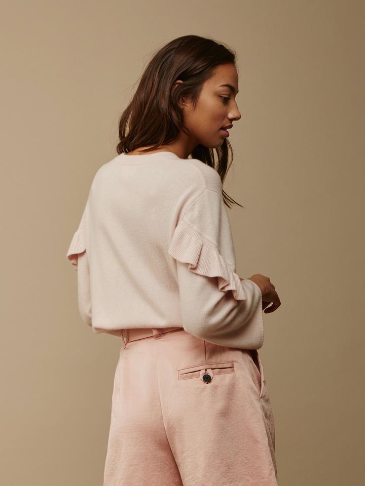 Soft Goat Women's Ruffle Trim Sweater Powder Pink