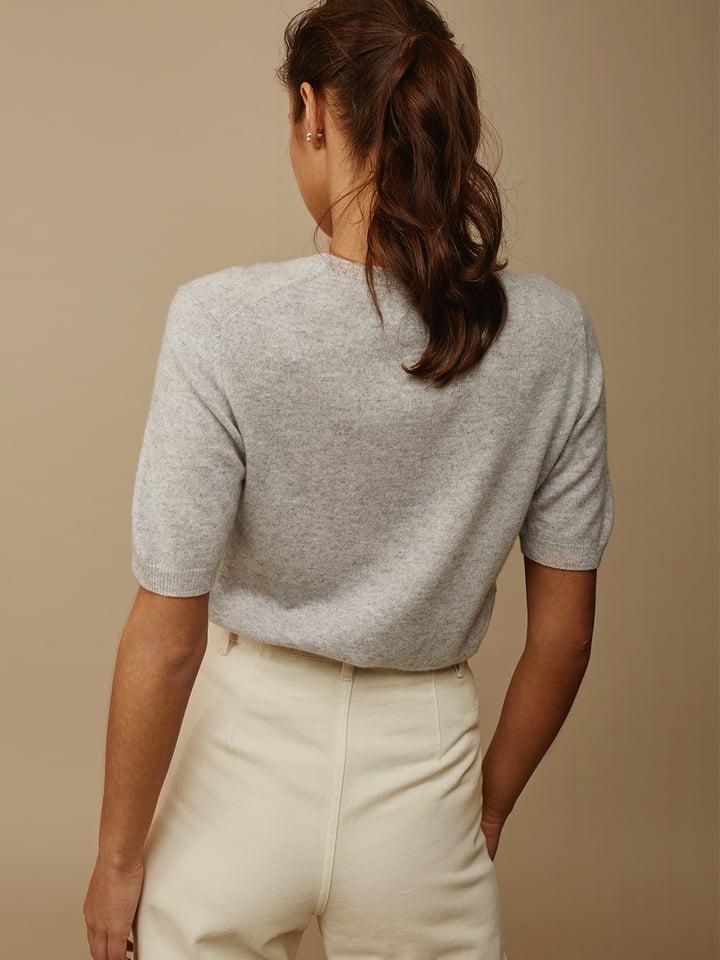 Soft Goat Women's Short Sleeve O-Neck Light Grey