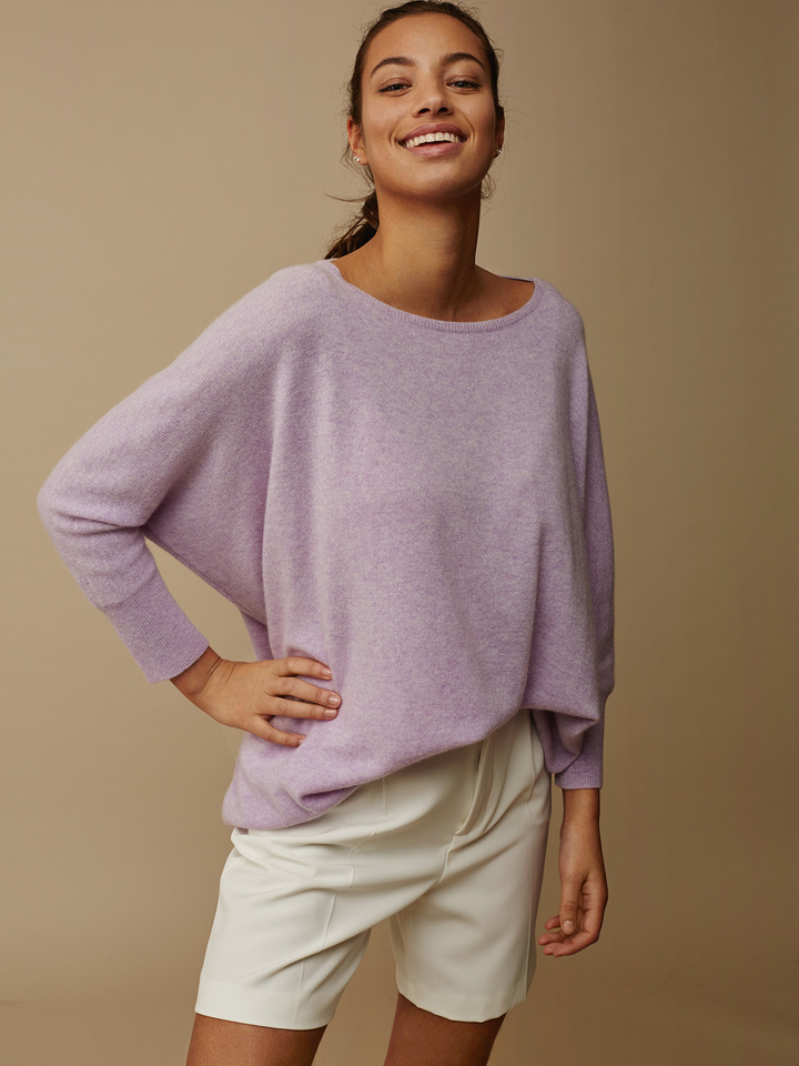 Soft Goat Women's Short Sleeve Poncho Light Lavender Ll