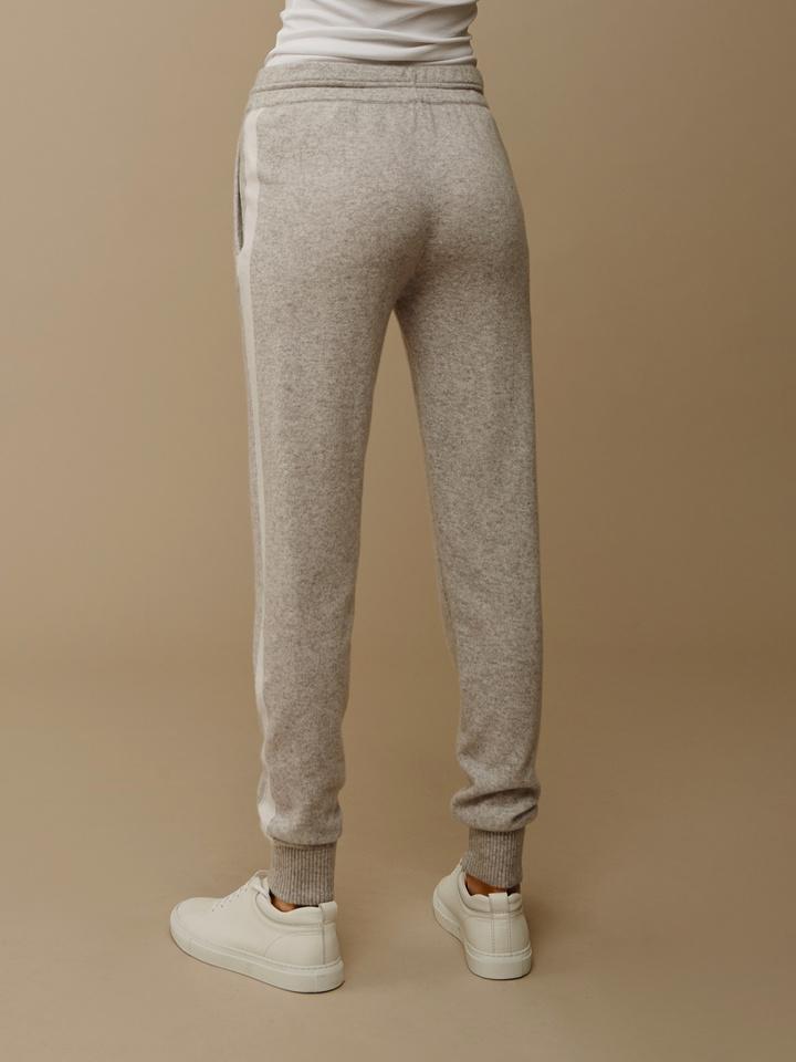 Soft Goat Women's Striped Pants Light Grey/off White