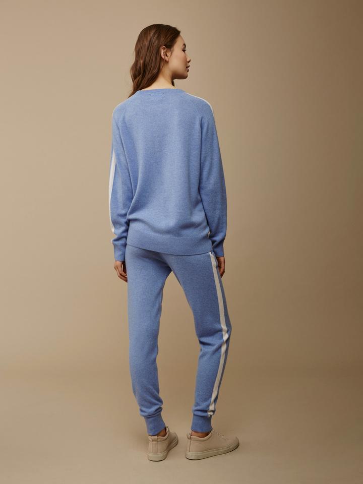 Soft Goat Women's Striped Sweater Aqua Blue/off White