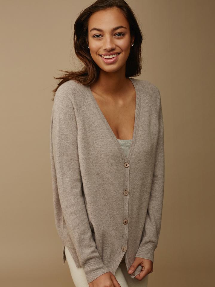 480abbbbb Women's V-neck Cardigan - Soft Goat Online Cashmere