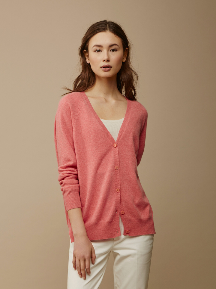 Soft Goat Women's V-Neck Cardigan Summer Sunset