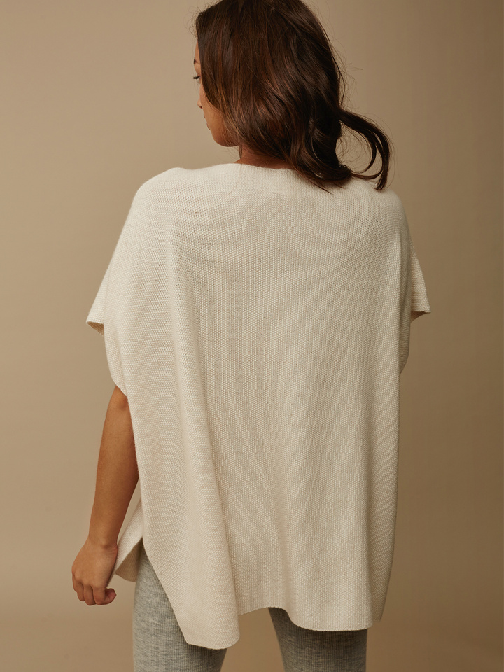 Soft Goat Women's Waffle Knit Poncho Beige