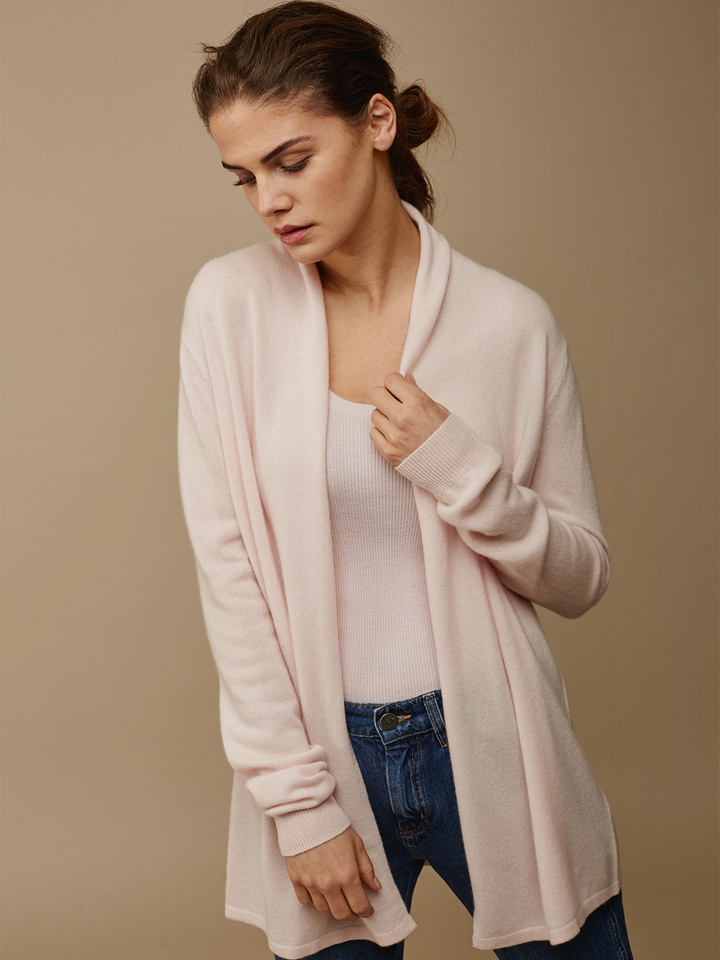 Soft Goat Women's Waterfall Cardigan Powder Pink