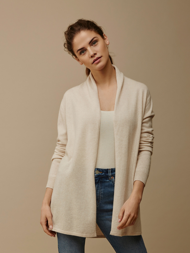 Soft Goat Women's Waterfall Cardigan Beige