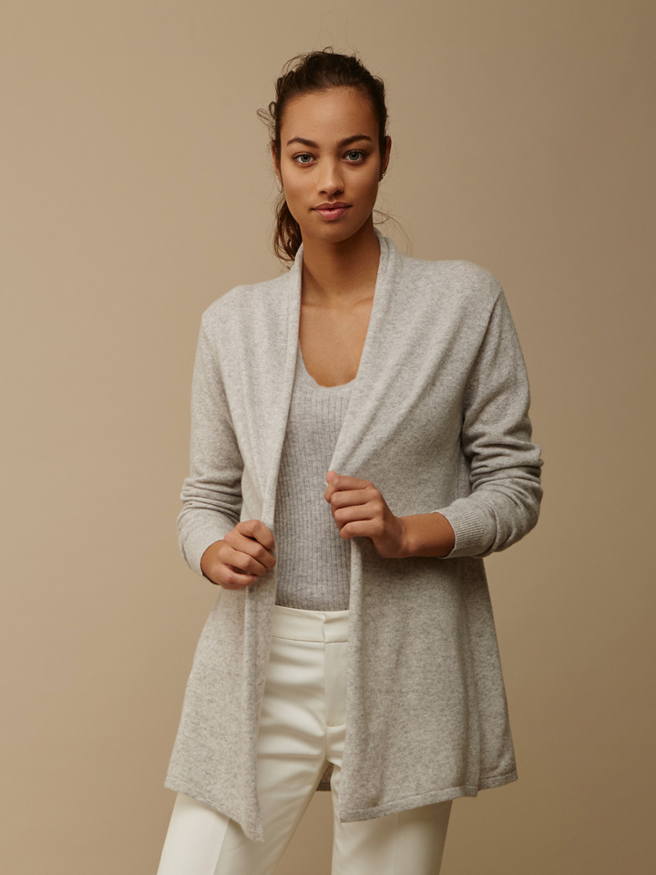 Soft Goat Women's Waterfall Cardigan Light Grey