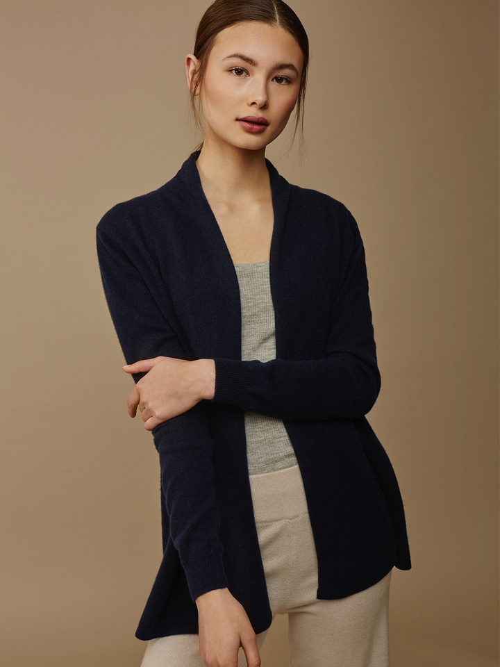 Soft Goat Women's Waterfall Cardigan Navy