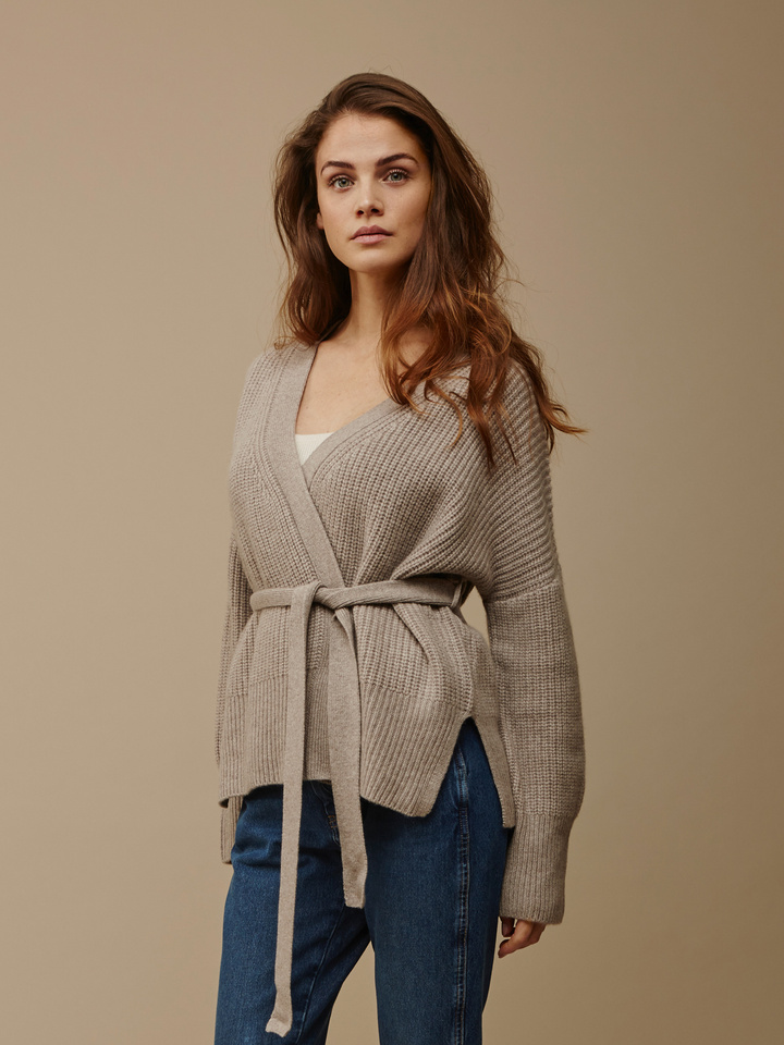 Soft Goat Women's Wrap Cardigan Light Taupe