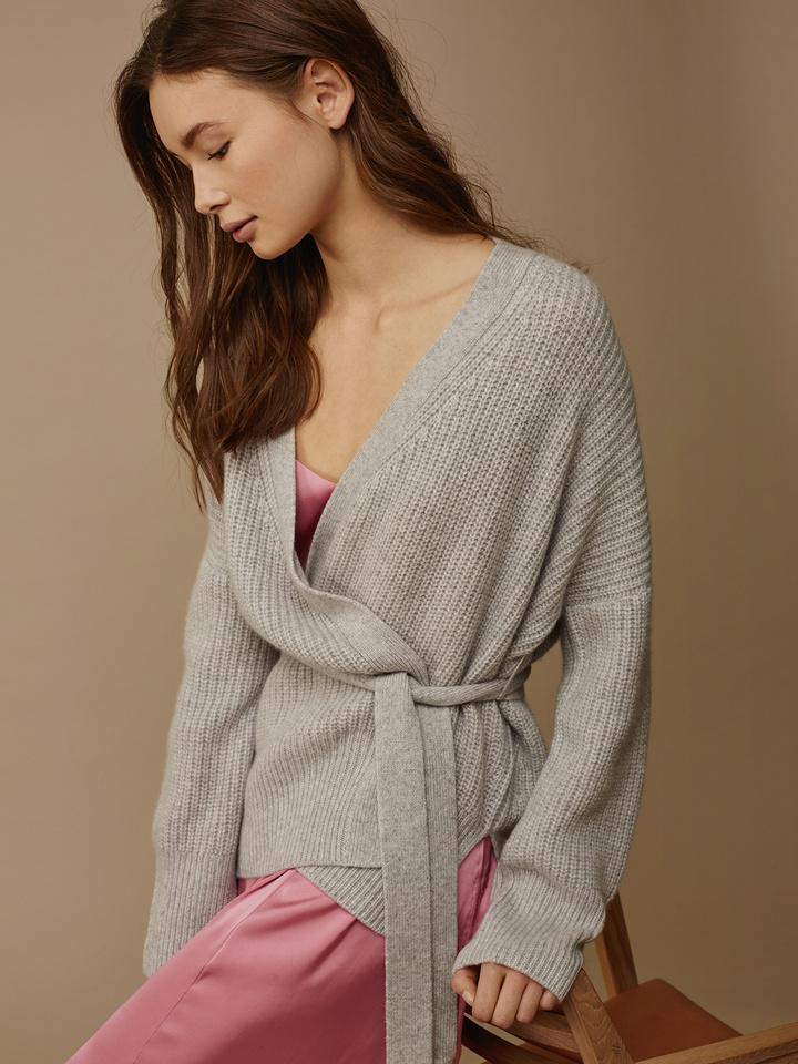 Soft Goat Women's Wrap Cardigan Light Grey