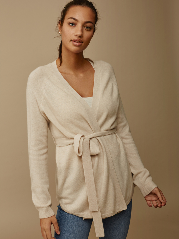 Soft Goat Wrap Sweater Beige