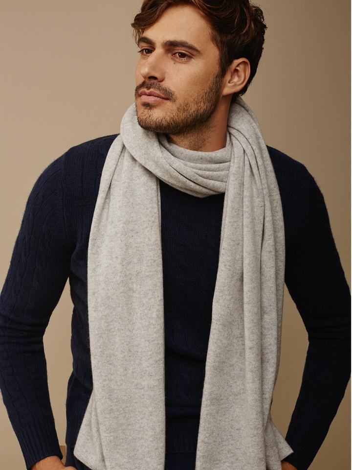 Soft Goat Plain Knitted Scarf Light Grey