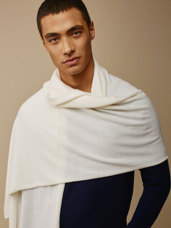 Soft Goat Plain Knitted Scarf Off White