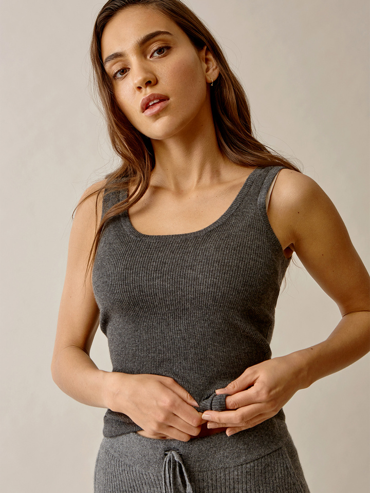 Thumbnail Fine Knit Singlet Dark Grey