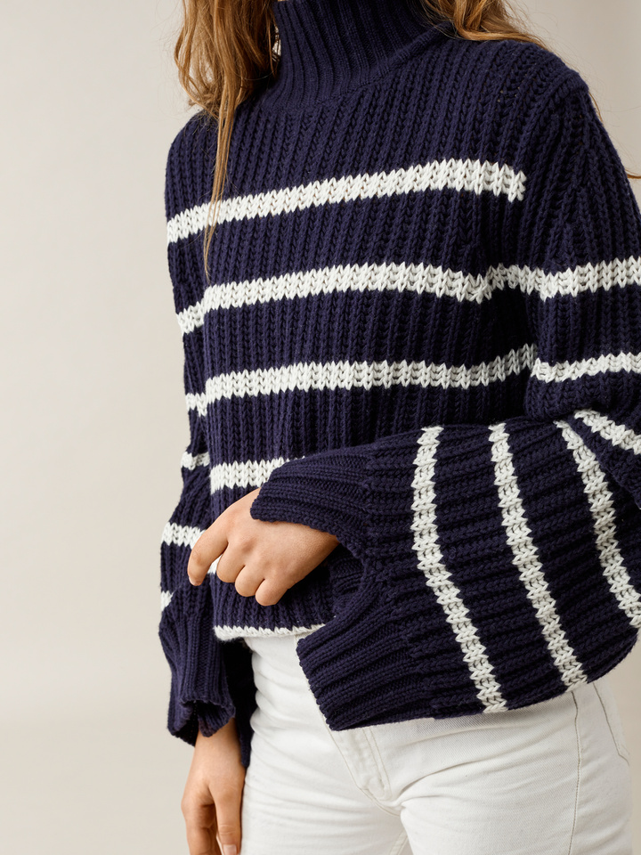 Thumbnail Striped Turtle Neck