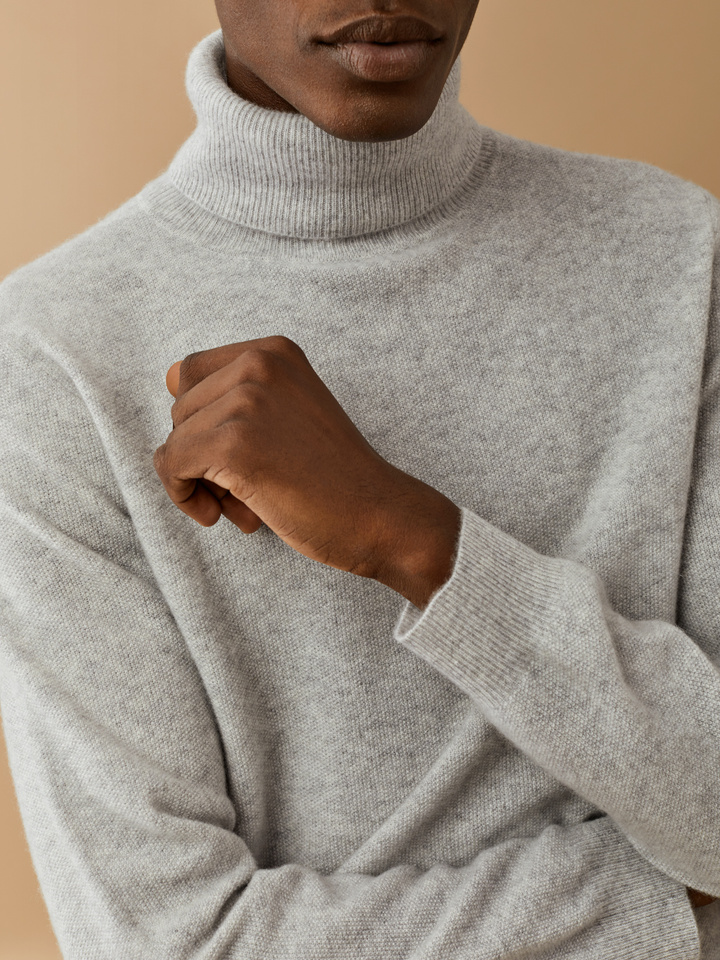 Thumbnail Men's Moss Stitch Turtle Neck