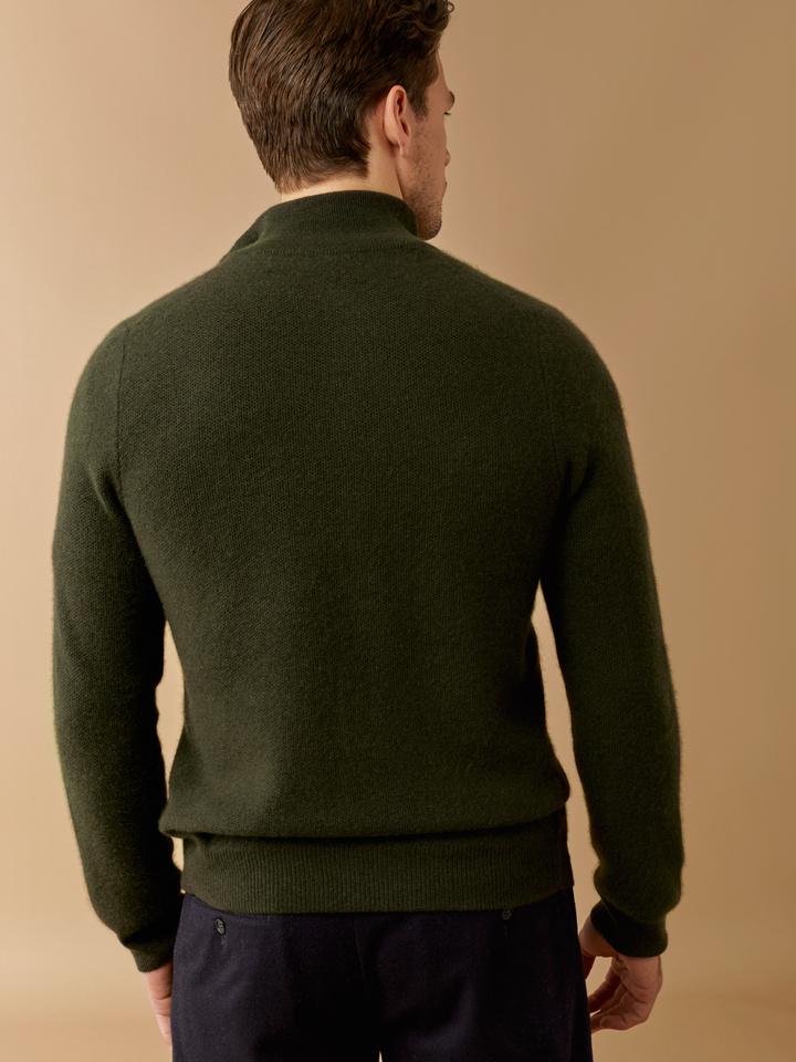 Thumbnail Men's Waffle Knit Cardigan Deep Green