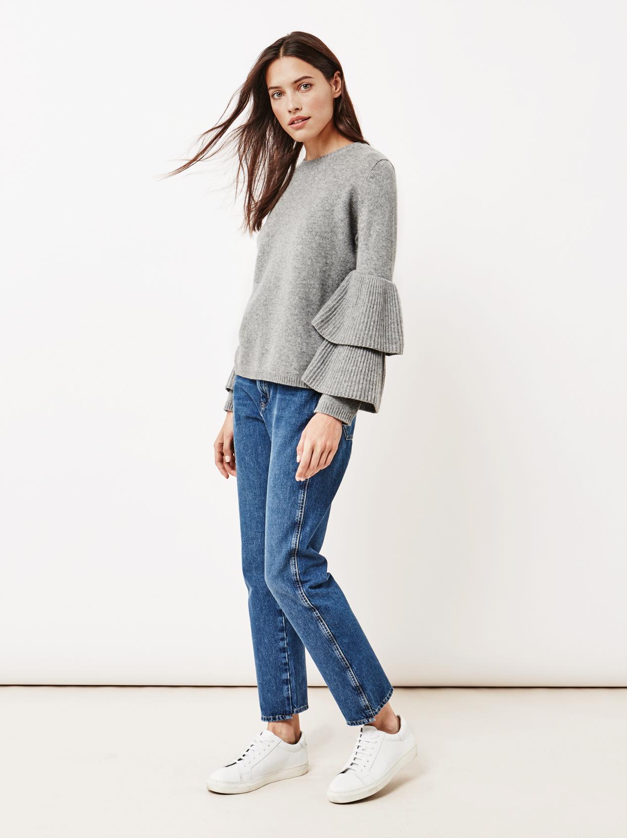 Soft Goat Women's Bell Arm Sweater Dark Grey