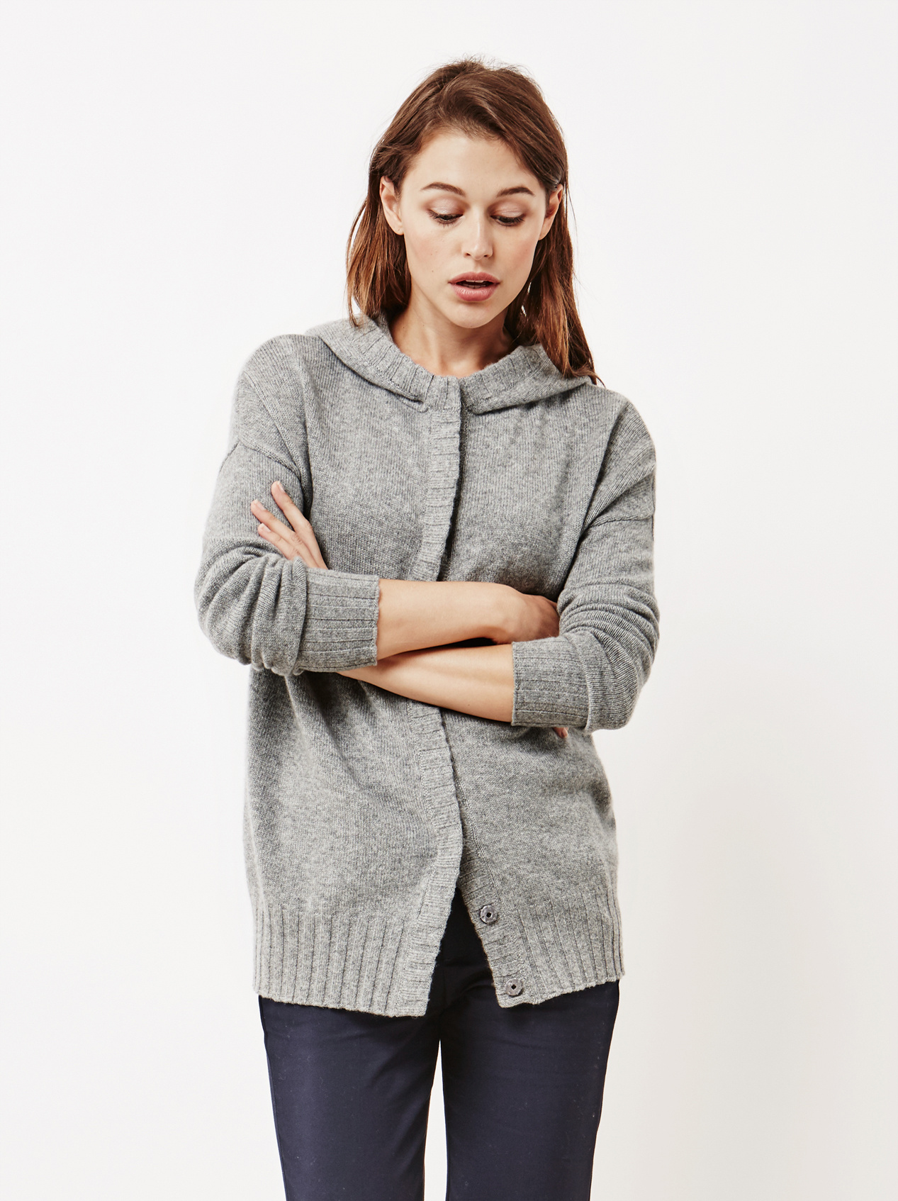 Soft Goat Women's Hoodie With Buttons Dark Grey