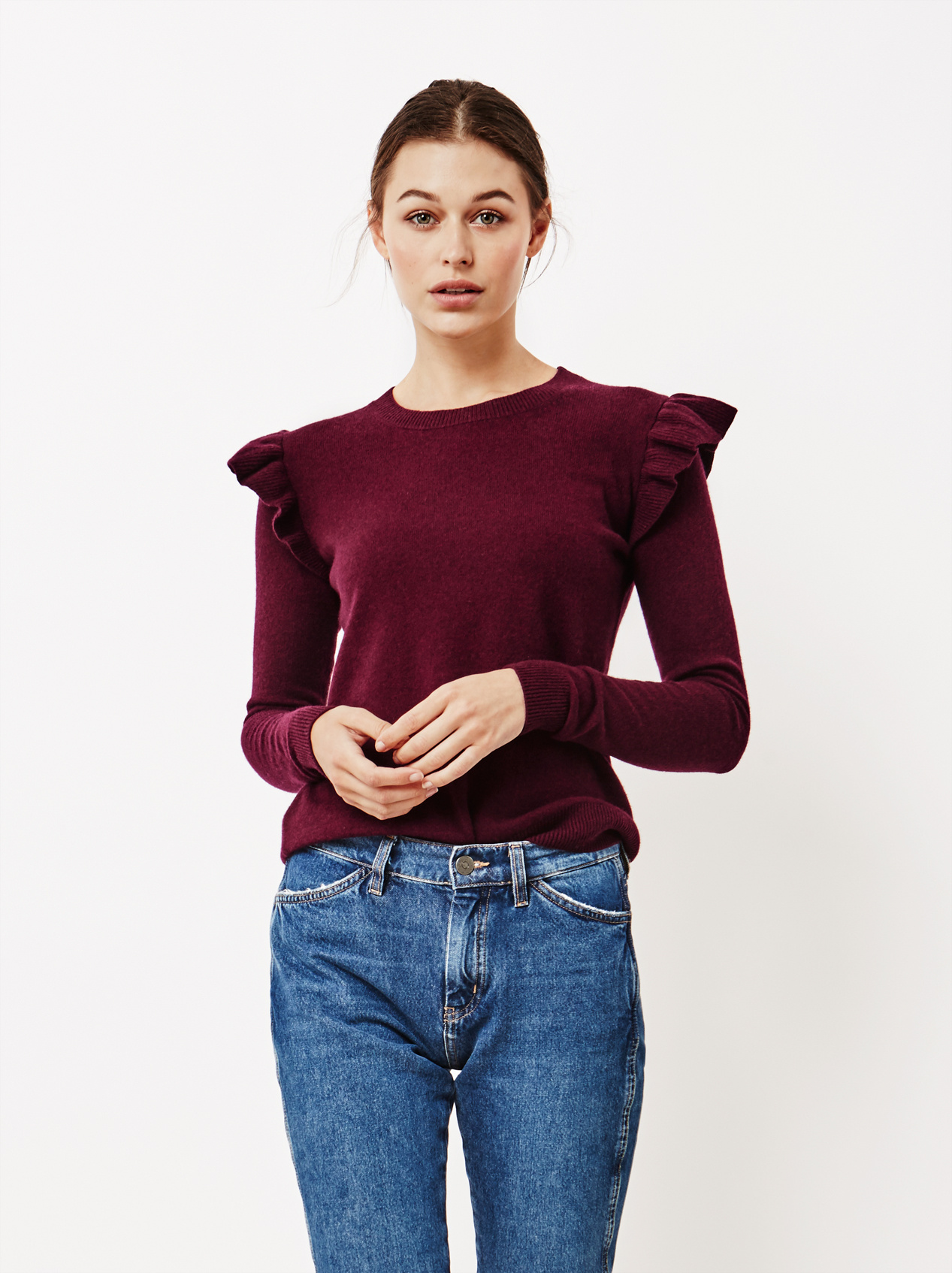 Soft Goat Women's Ruffle Shoulder Sweater Burgundy