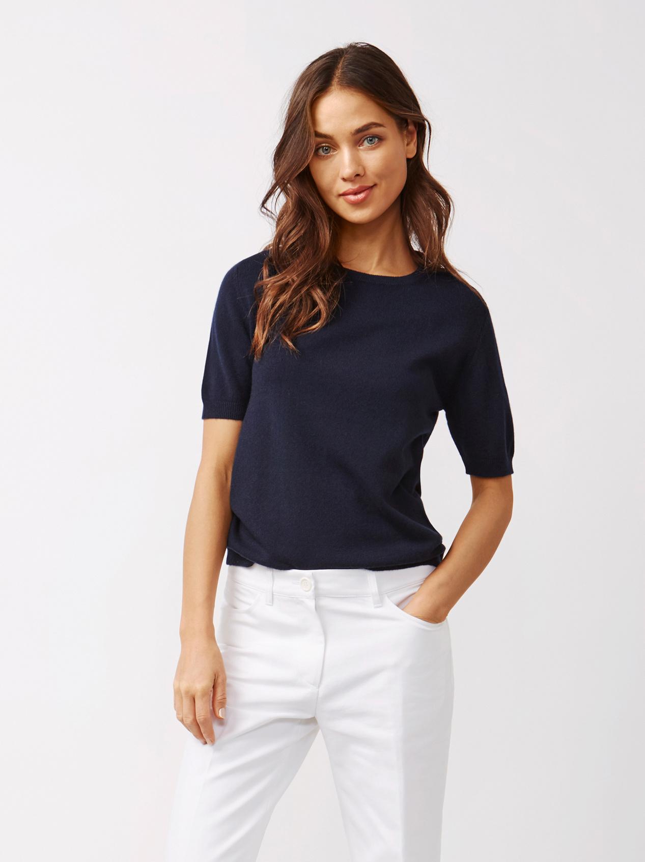 Soft Goat Women's Short Sleeve O-Neck Navy