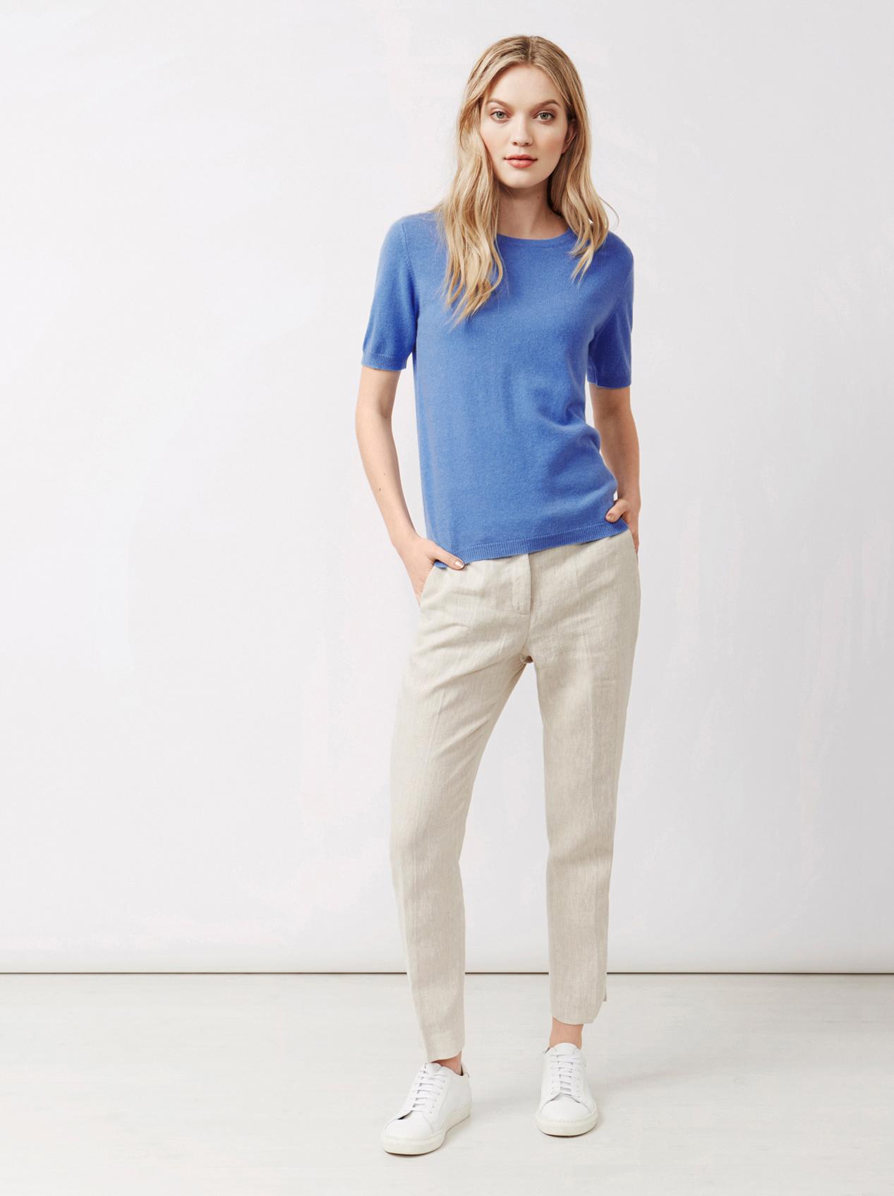 Soft Goat Women's Short Sleeve O-Neck Sky Blue