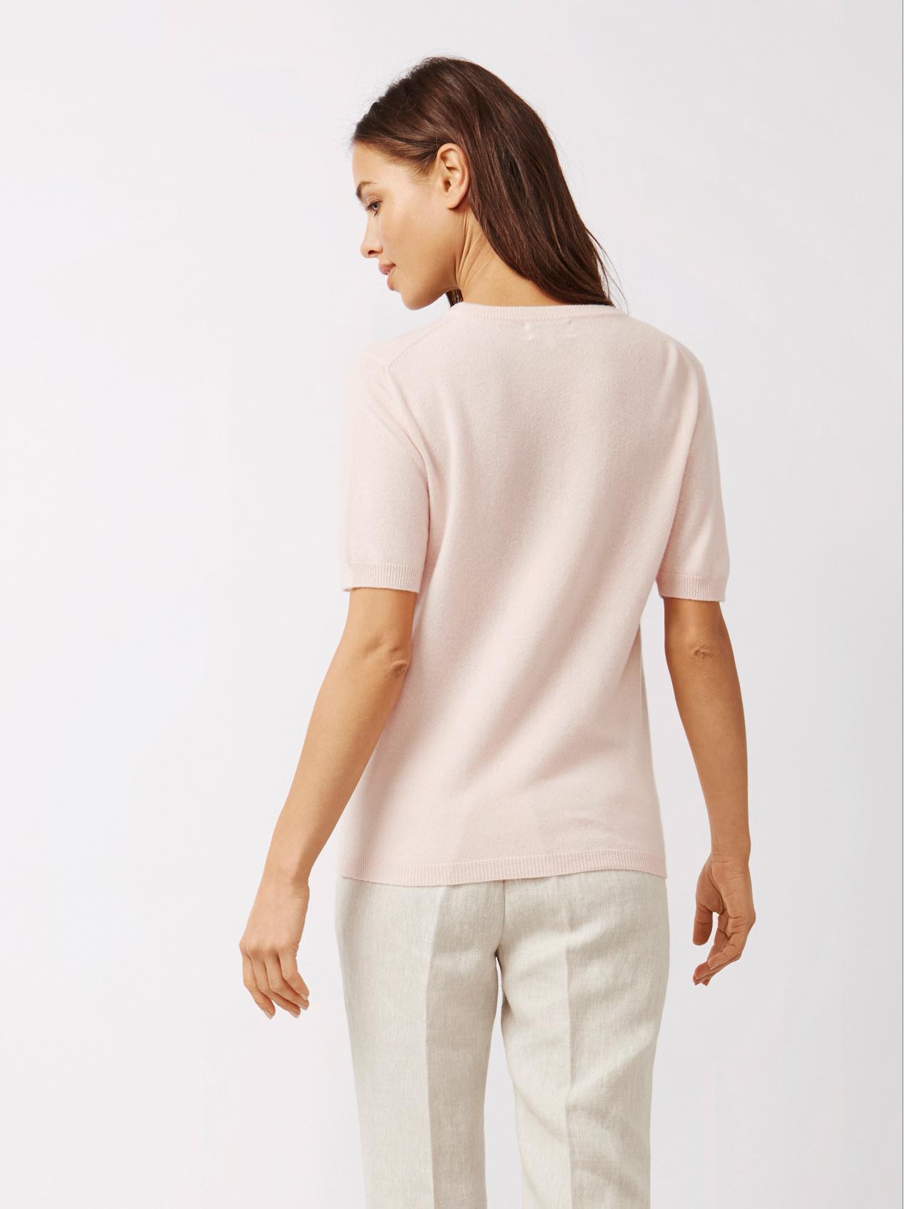Soft Goat Women's Short Sleeve O-Neck Powder