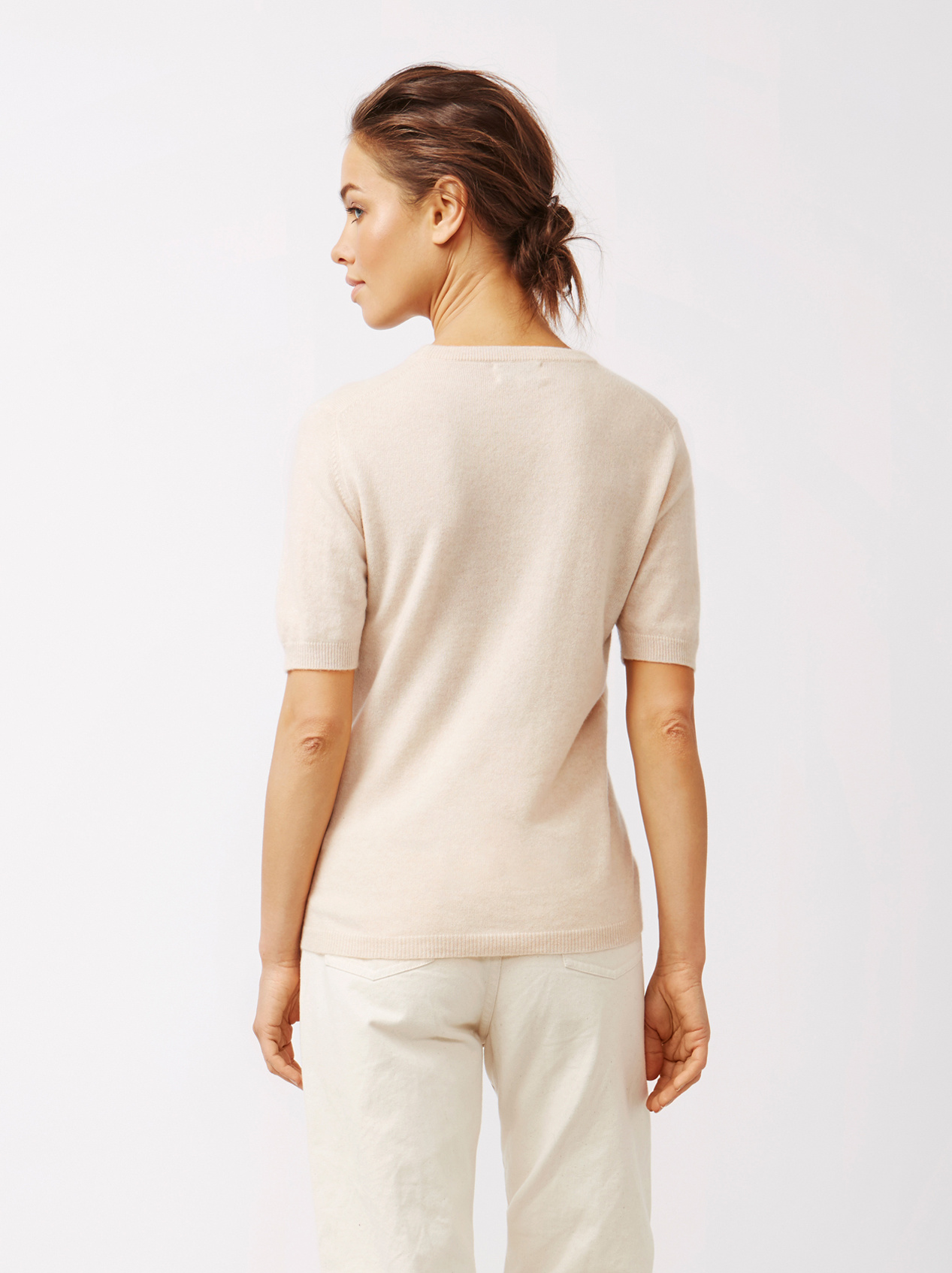Soft Goat Women's Short Sleeve O-Neck Beige