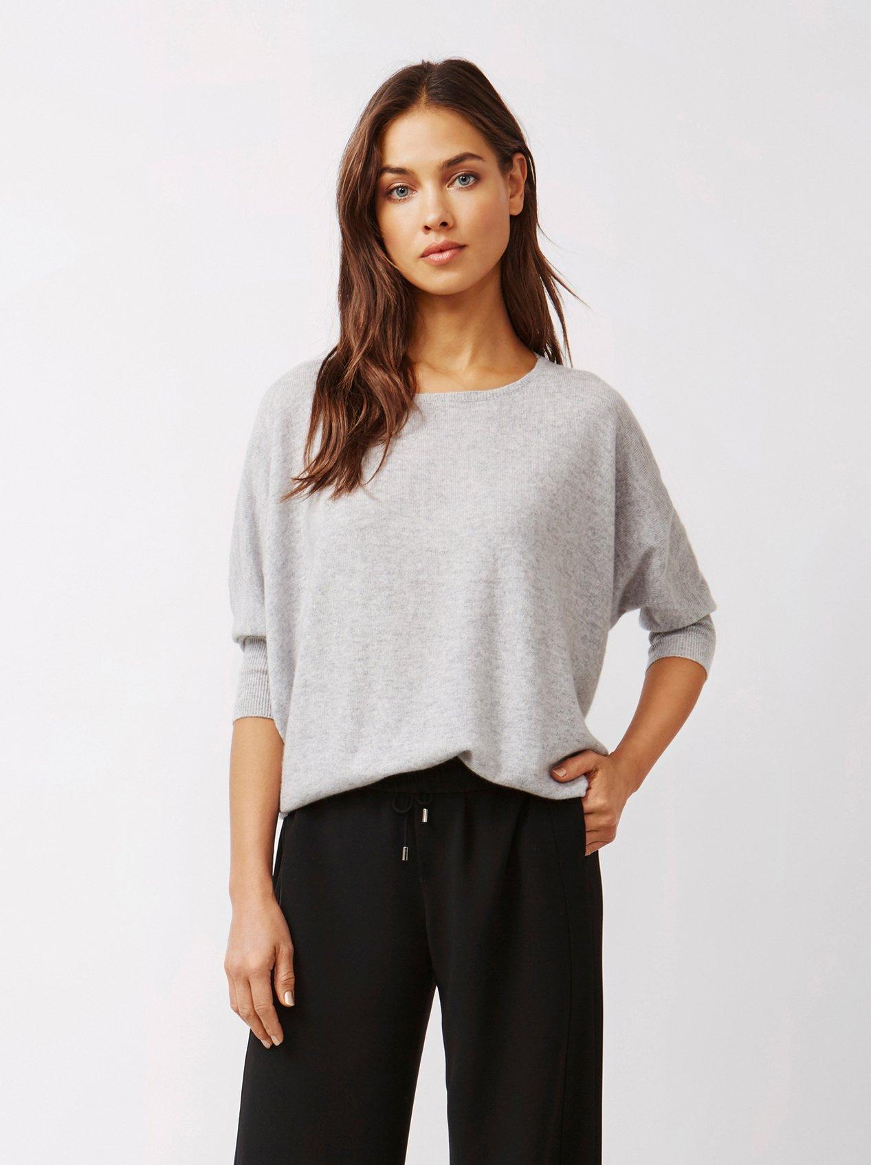 Soft Goat Women's Short Sleeve Poncho Light Grey