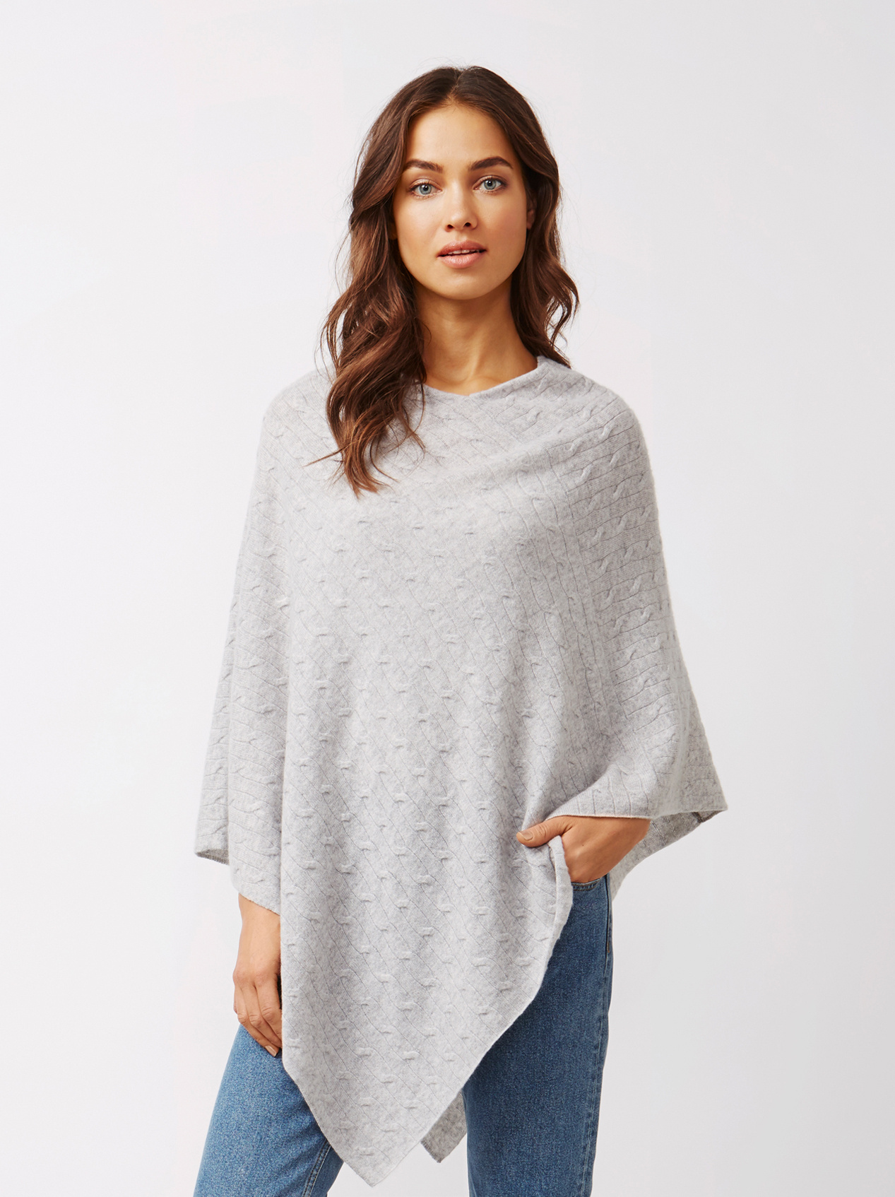Favorite Women's Cable Knit Poncho - Soft Goat Online Cashmere BB92