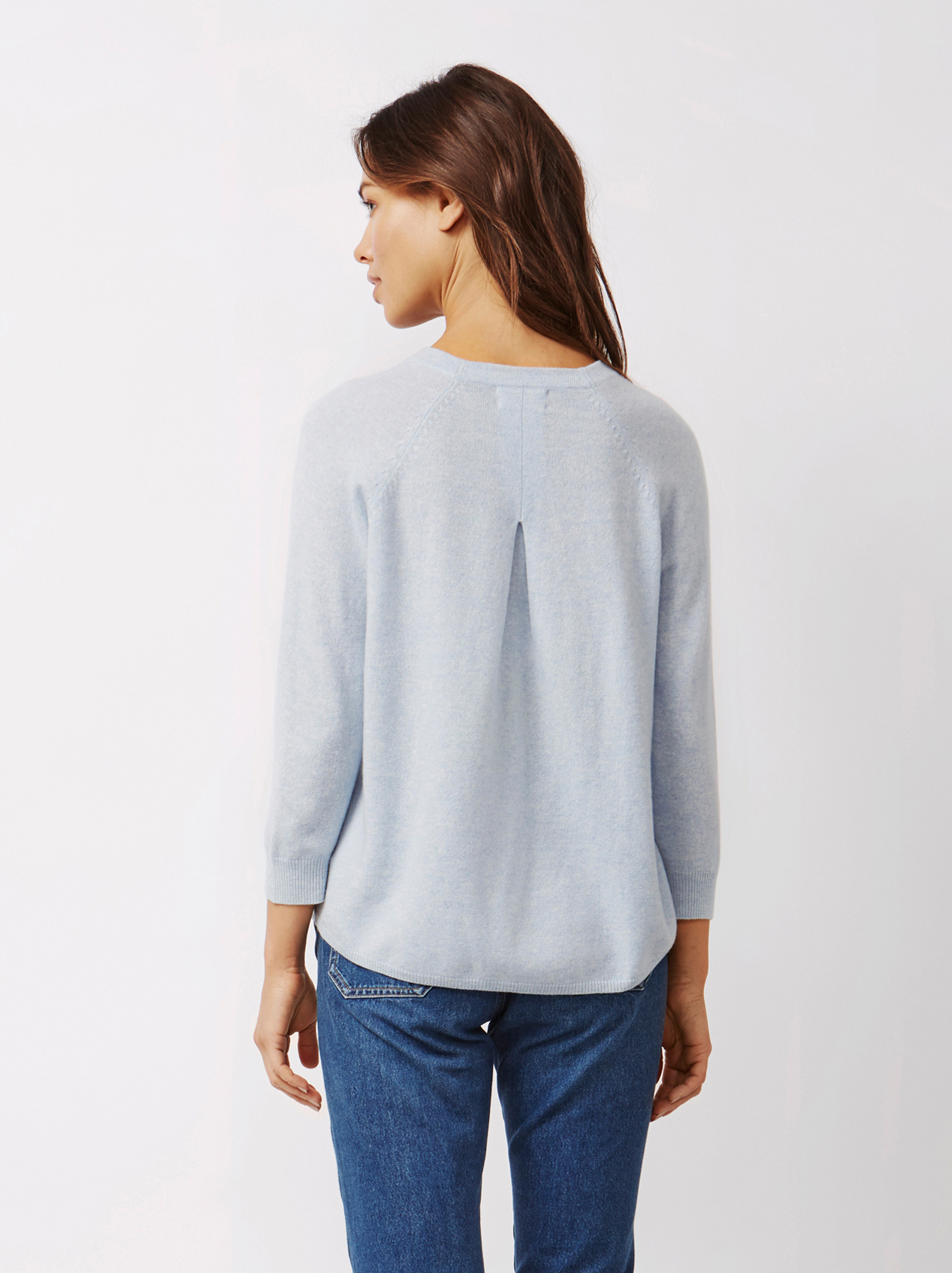Soft Goat Women's Rounded Sweater Light Blue