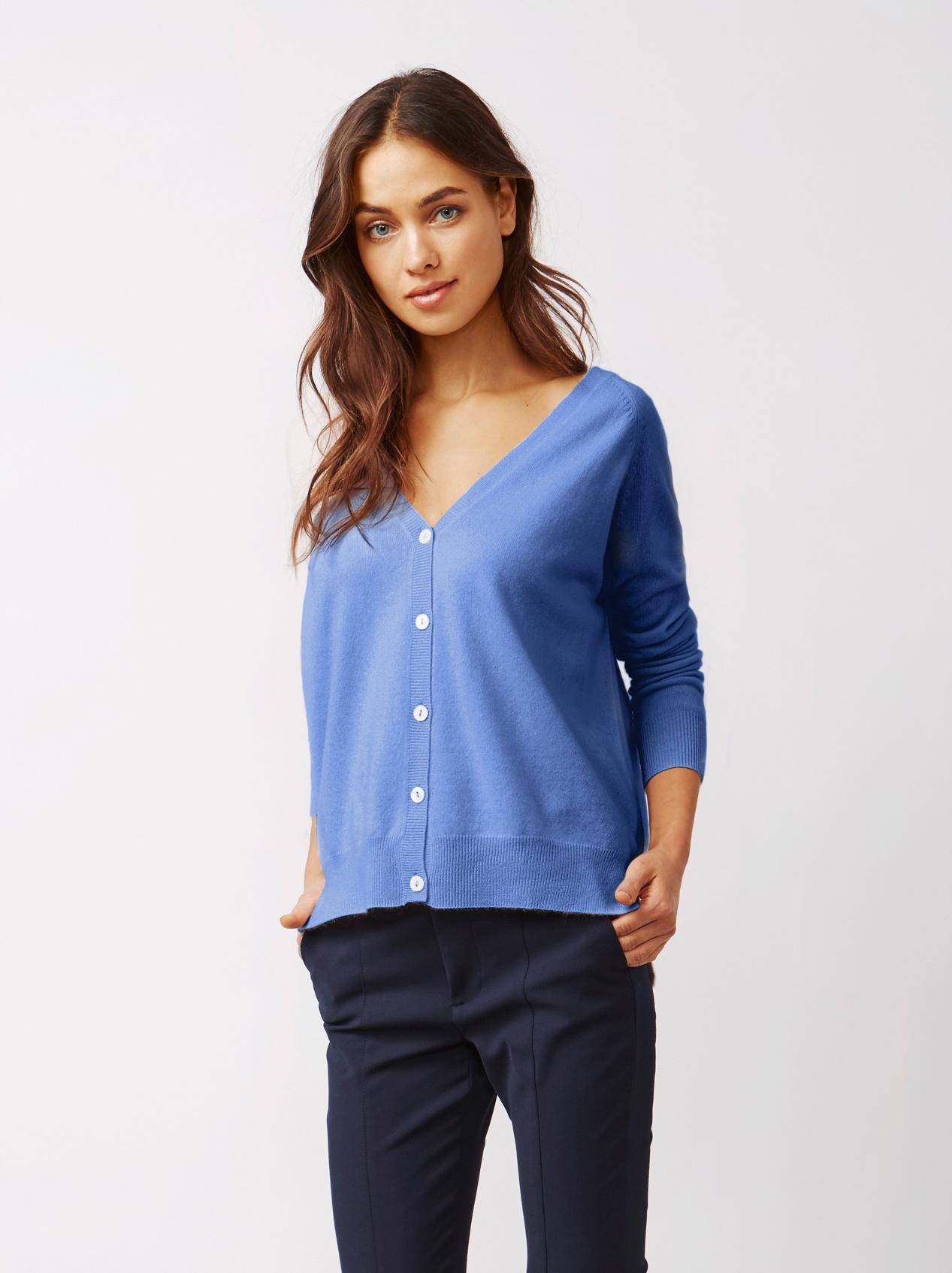Soft Goat Women's V-Neck Cardigan Sky Blue